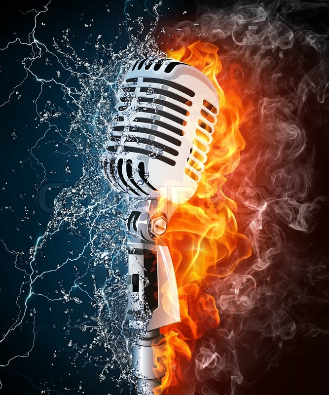 Stock image of 'Old Microphone on Fire and Water. Computer Graphics.'