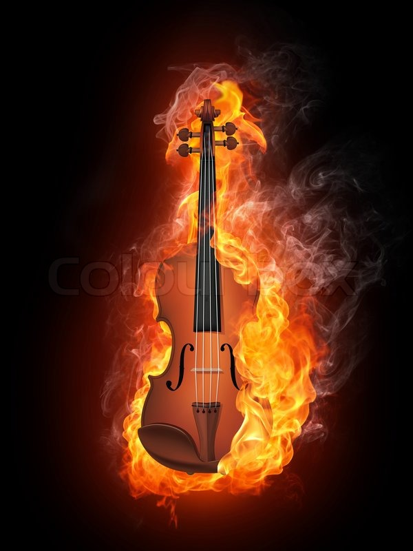 violin in fire isolated on black background stock photo