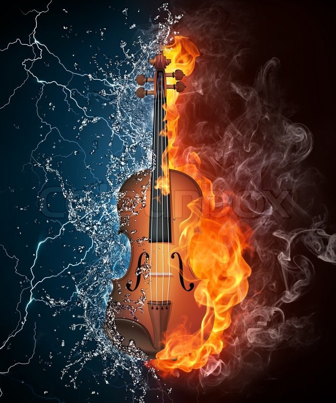 Violin In Fire And Water Isolated On Black Background