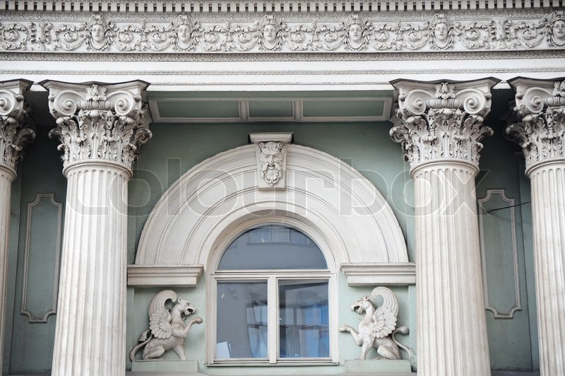 Roman Greek Architecture Design In Window Of A Building