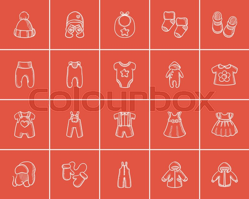 22f64c7d4691 Baby clothes sketch icon set for web
