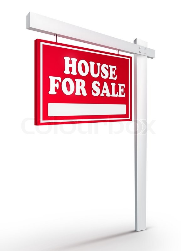 Real Estate Sign House For Sale On White Background 2d