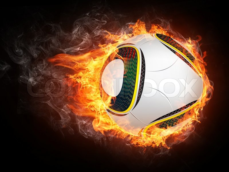 soccer ball on fire 2d graphics computer design stock