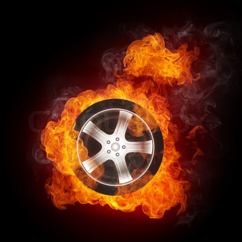 Coolest Sports Cars Burning Tiers: Car Wheel In Fire Isolated On Black Background. Computer