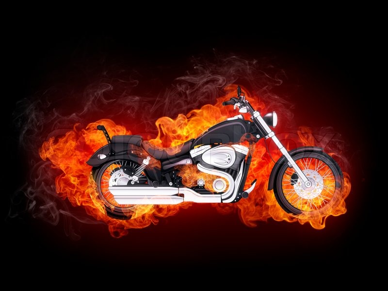 Motorcycle In Fire Isolated On Black Background Computer Graphics  Stock Photo Colourbox