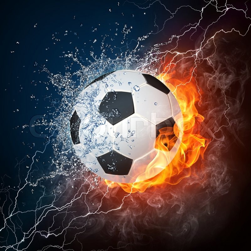 Soccer Ball On Fire And Water 2d Stock Photo