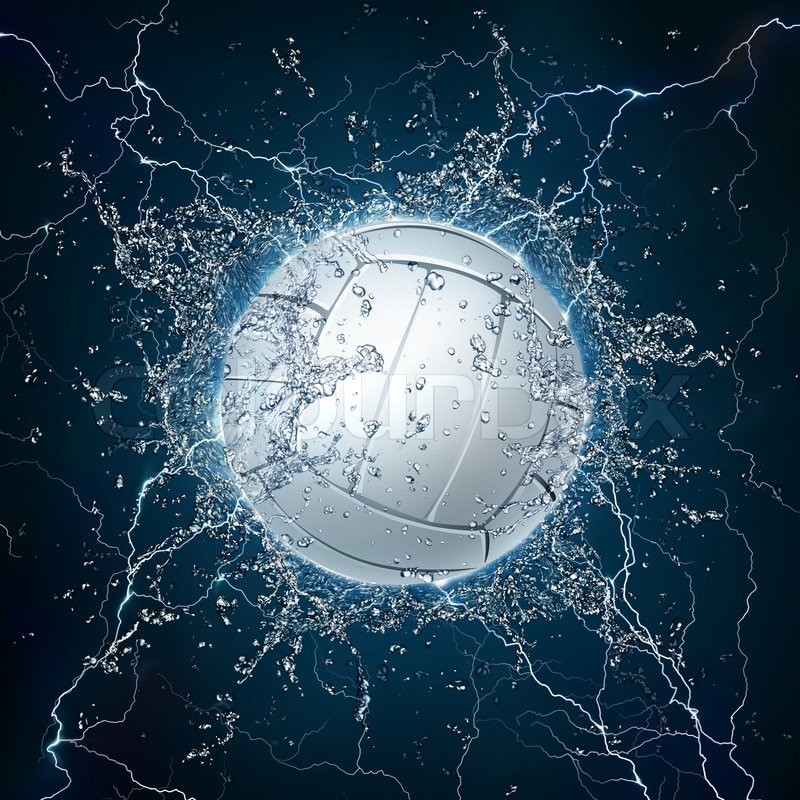 Volleyball Ball in Water on Black Background | Stock Photo ...