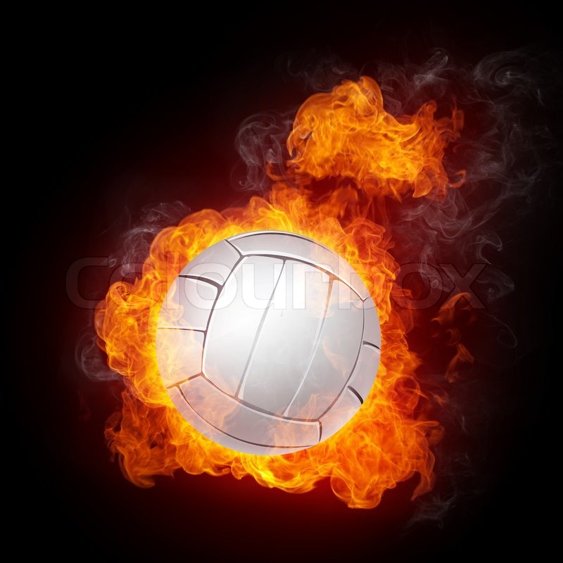 Volleyball Ball On Fire Computer Graphics Stock Photo
