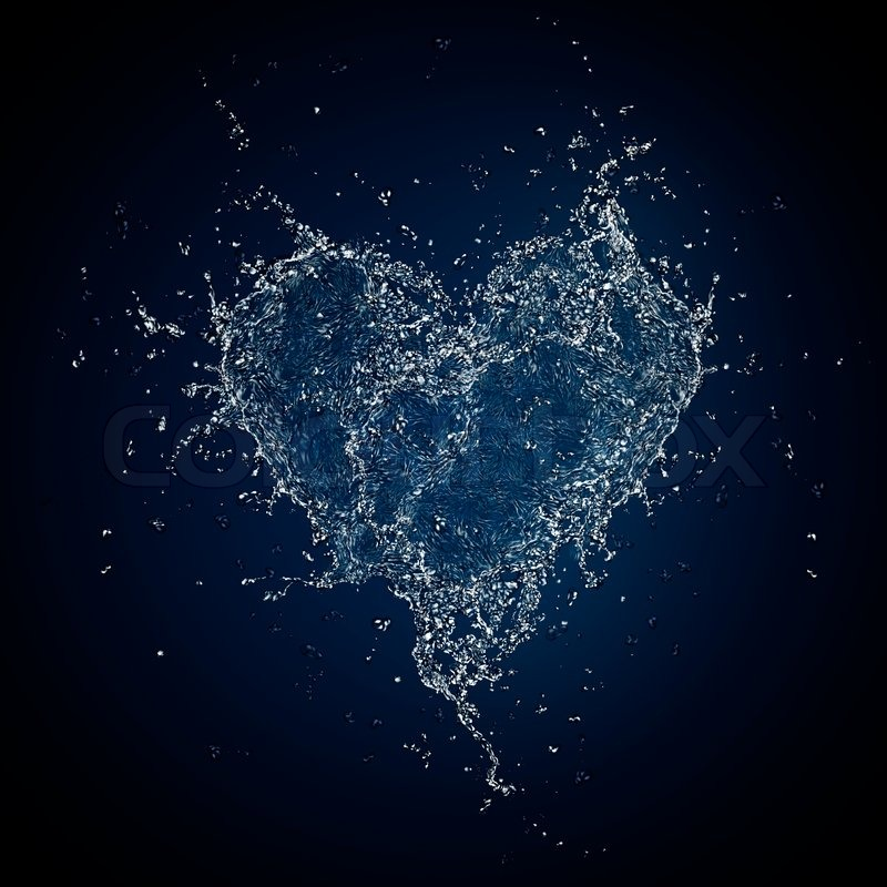 Heart In Water Isolated On Black Background Computer
