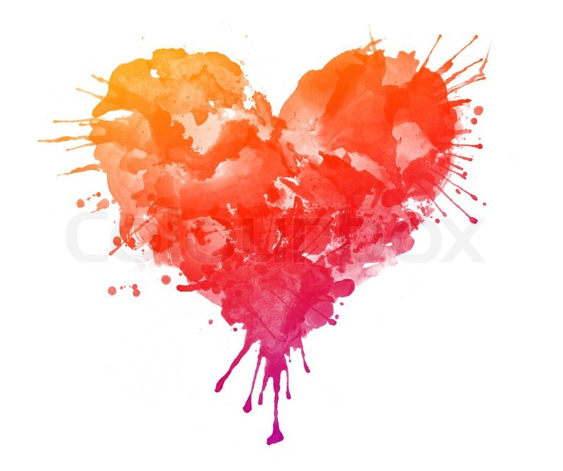 Best Colour For Home Painting >> Watercolor Heart Isolated on White Background   Stock Photo   Colourbox