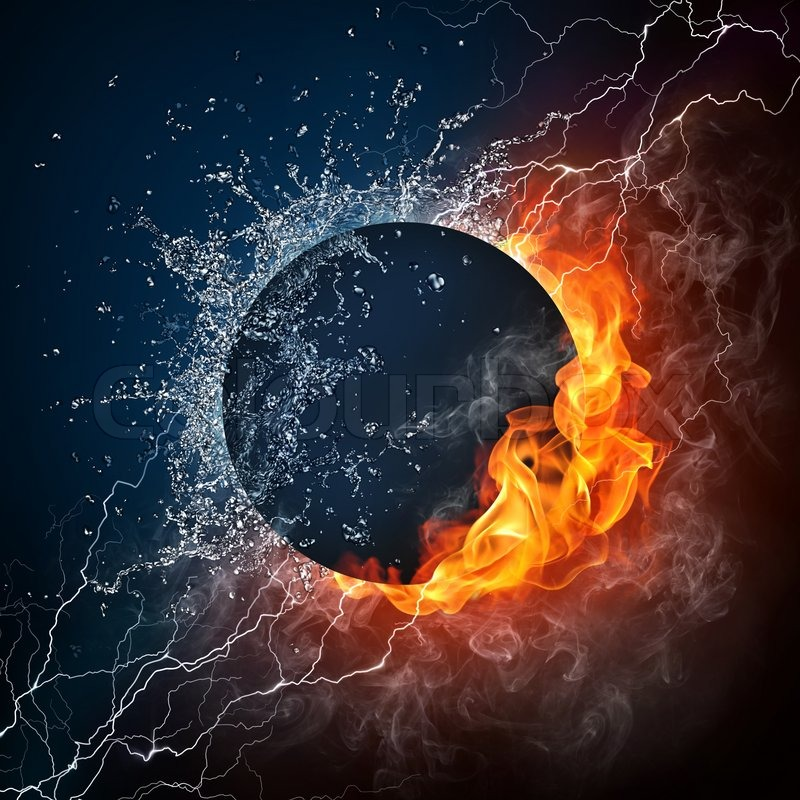 black hole on fire and water 2d graphics computer design stock