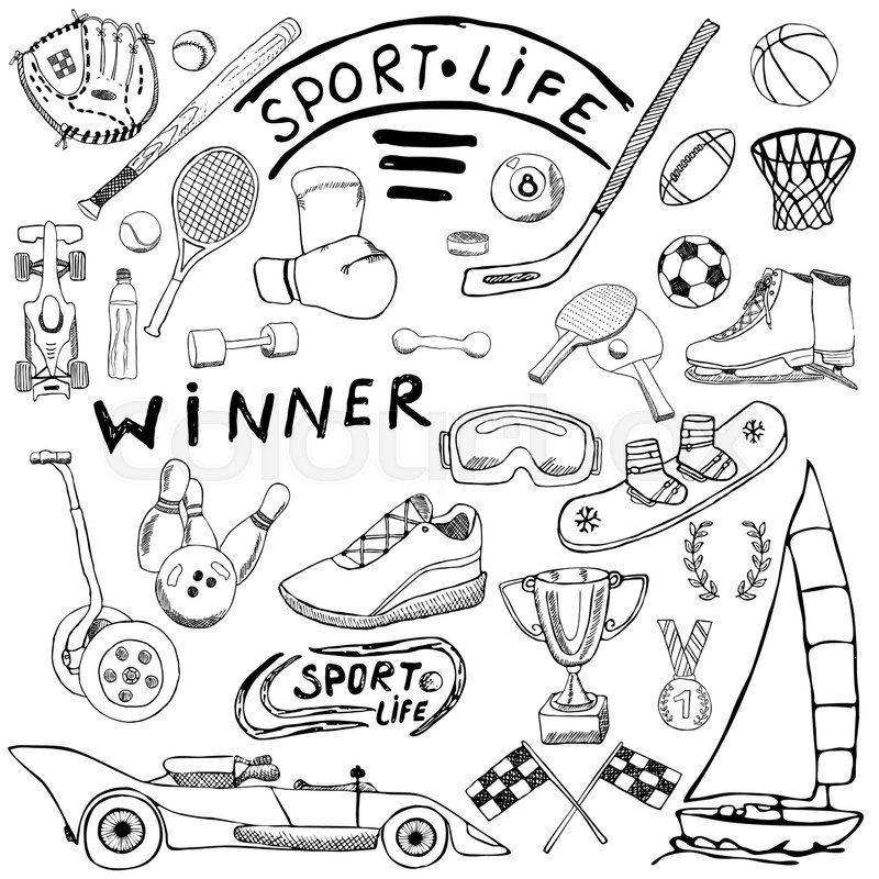 Sport Life Sketch Doodles Elements Hand Drawn Set With