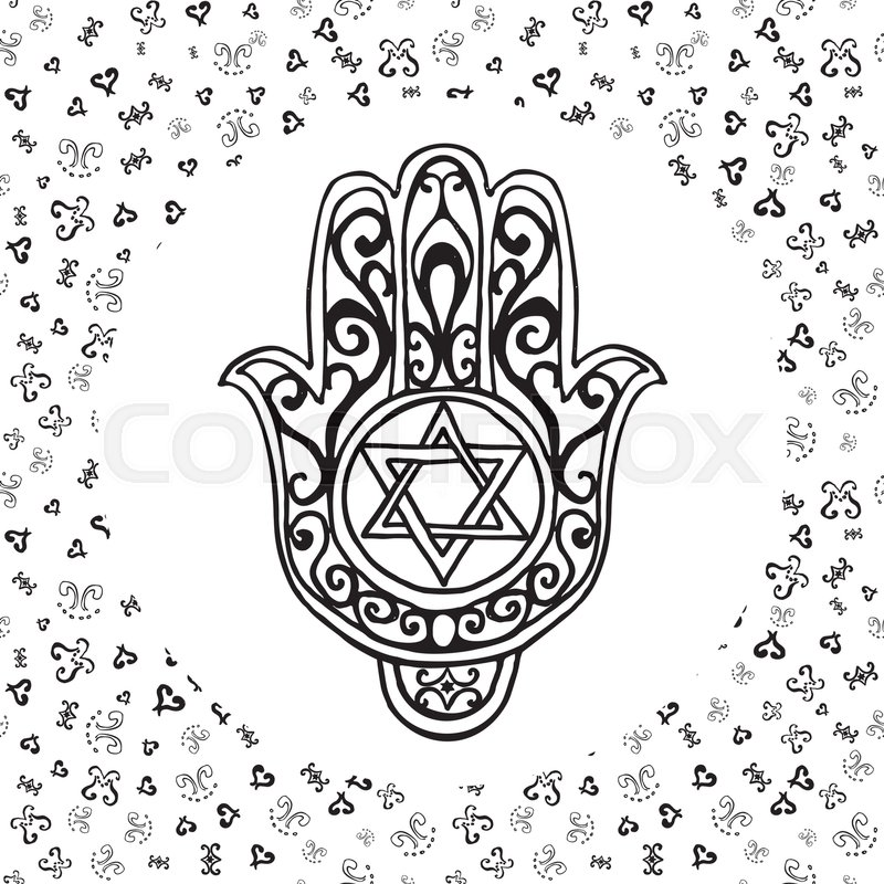 Hand Drawn Sketch Of Traditional Jewish Religious Symbols Hand Of