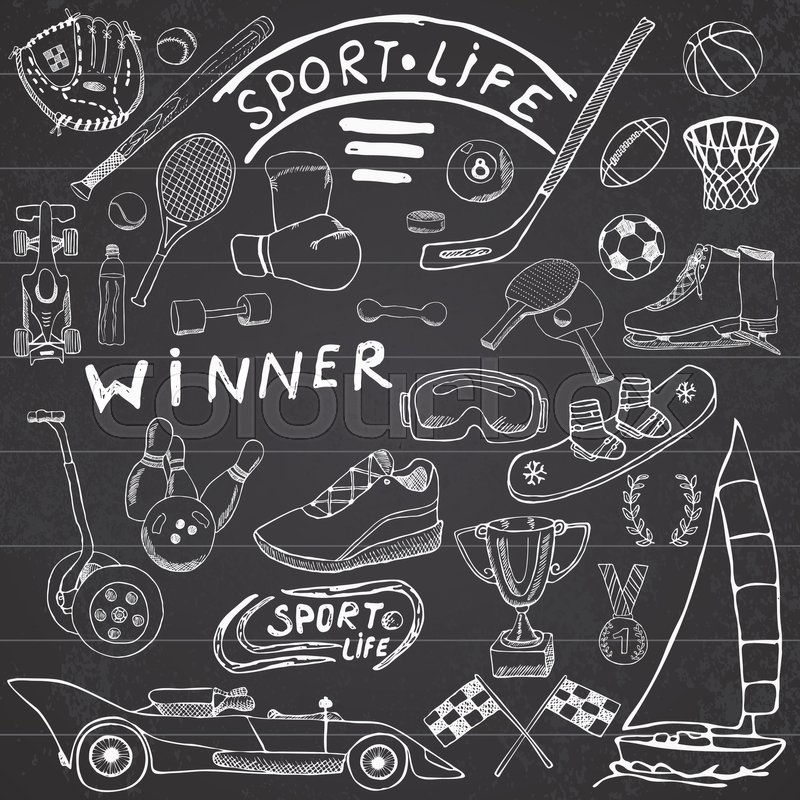 Sport Life Sketch Doodles Elements Hand Drawn Set With Baseball Bat