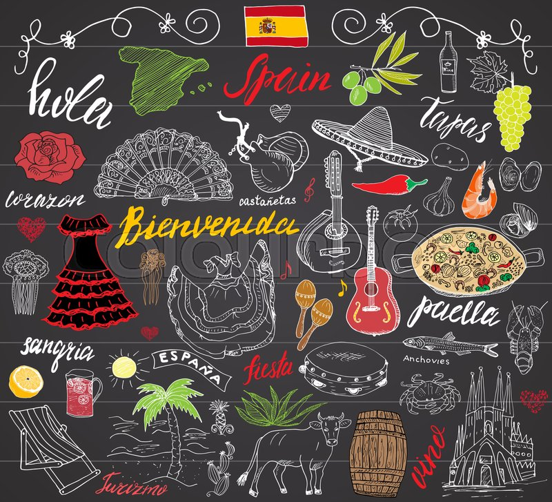 Spain doodles elements hand drawn set with spanish for Cuisine instrument