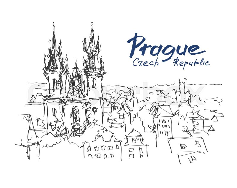 Ink Sketch Line Drawing Of Prague Old Stock Vector Colourbox