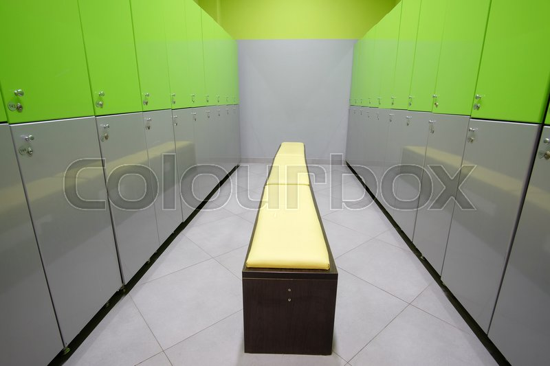 Stock image of 'Interior of a locker room in fitness club'