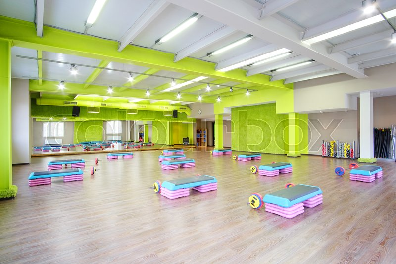 Stock image of 'Interior of a modern fitness hall'