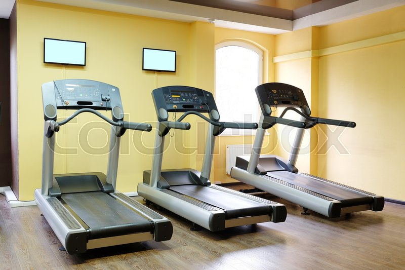 Stock image of 'image of treadmills in a fitness hall'