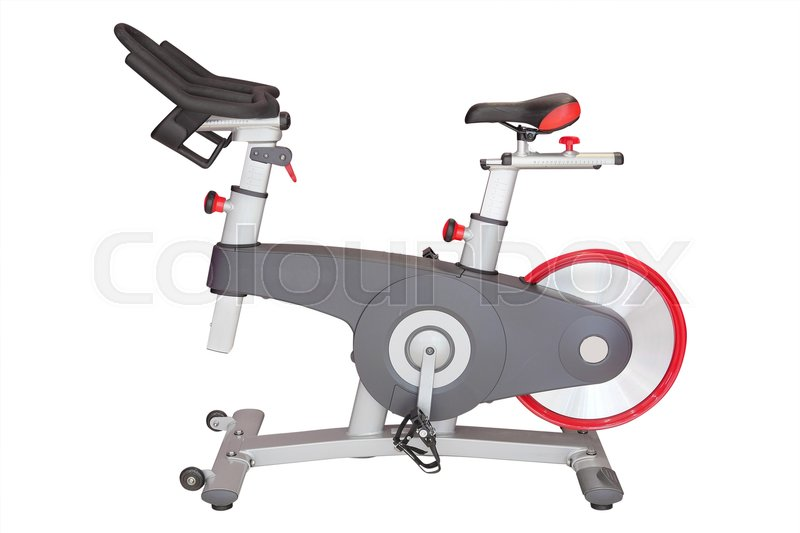Stock image of 'Fitness hall with sport bicycle'