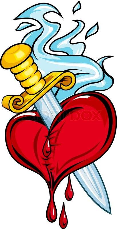 Heart With Sword And Blood For Tattoo Design Vector Colourbox