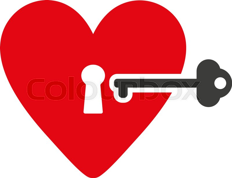 The Heart And Key Icon Heart And Key Symbol Flat Vector