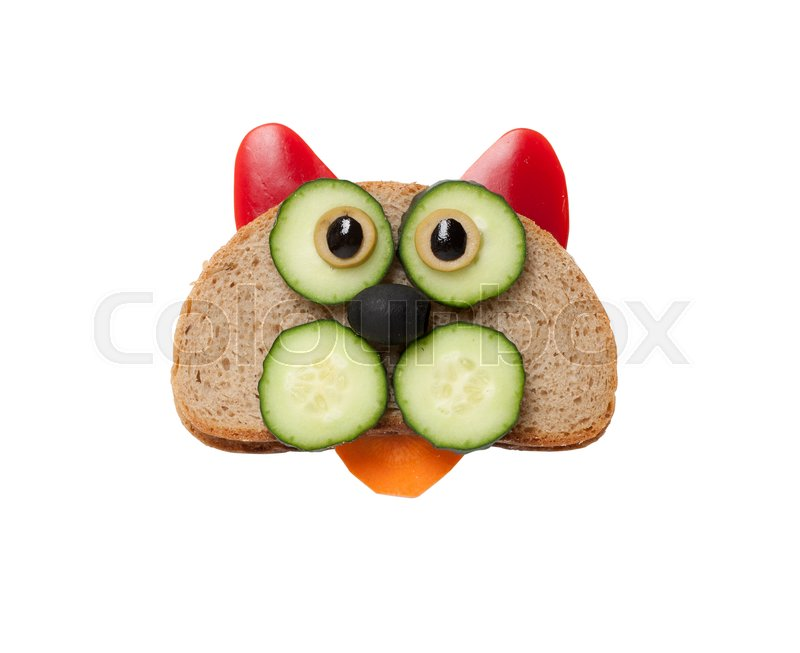 Stock image of 'Funny cat made of bread and vegetables on white background'
