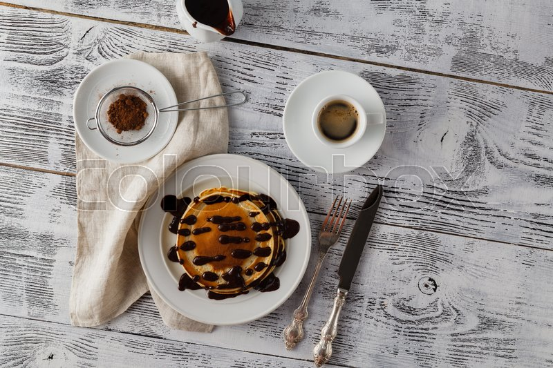 Stock image of 'Chocolate pancakes on plate'