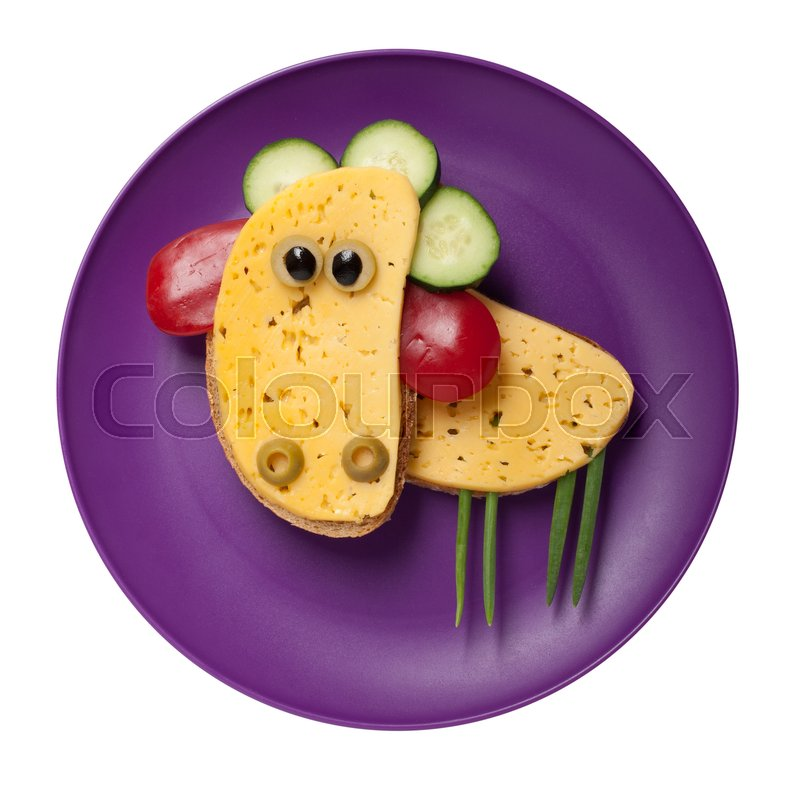 Stock image of 'Funny sheep made of cheese and bread on plate'