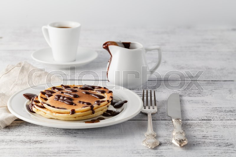 Stock image of 'Sweet pancakes with chocolate'