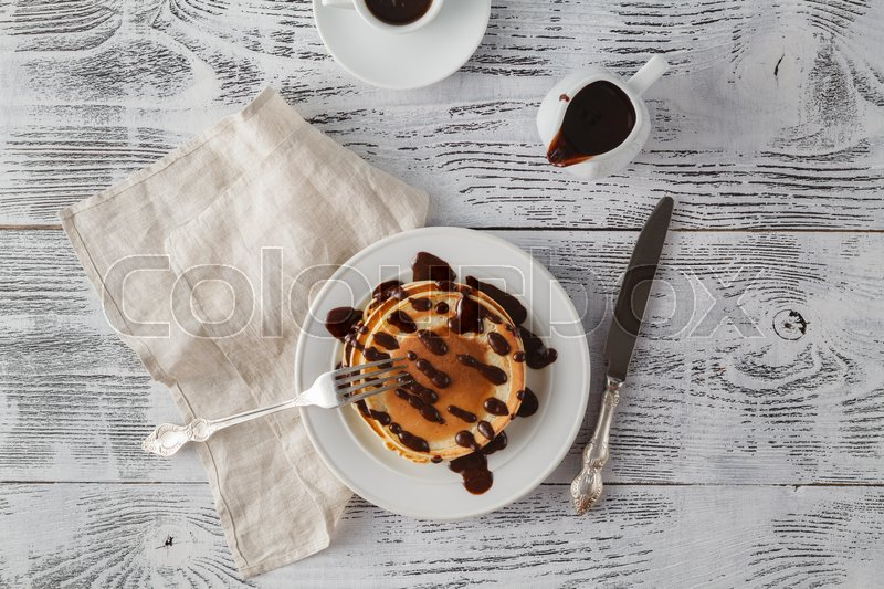 Stock image of 'Pancake topping chocolate sauce syrup'