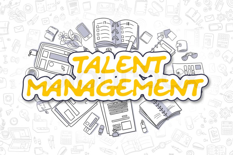 Stock image of 'Yellow Inscription - Talent Management. Business Concept with Doodle Icons. Talent Management - Hand Drawn Illustration for Web Banners and Printed Materials. '