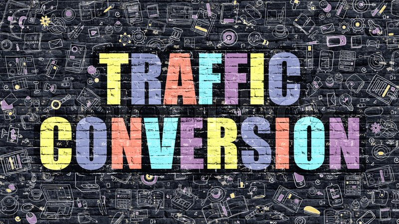 Stock image of 'Traffic Conversion. Multicolor Inscription on Dark Brick Wall with Doodle Icons. Traffic Conversion Concept in Modern Style. Doodle Design Icons. Traffic Conversion on Dark Brickwall Background.'