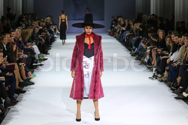 Editorial image of 'KYIV, UKRAINE - OCTOBER 13, 2016: Models walk on the catwalk during Fashion Show by Maryna RYBALKO as part of 39th Ukrainian Fashion Week at Mystetskyi Arsenal in Kyiv, Ukraine'