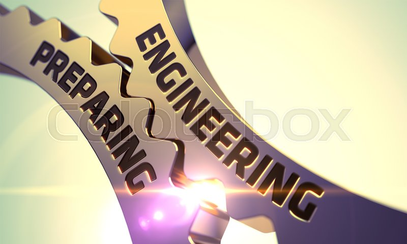 Stock image of 'Engineering Preparing - Industrial Design. Golden Cog Gears with Engineering Preparing Concept. 3D Render.'