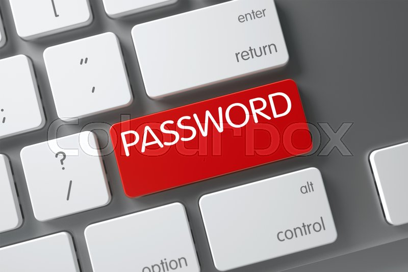 Stock image of 'Password Concept Laptop Keyboard with Password on Red Enter Key Background, Selected Focus. 3D Illustration.'