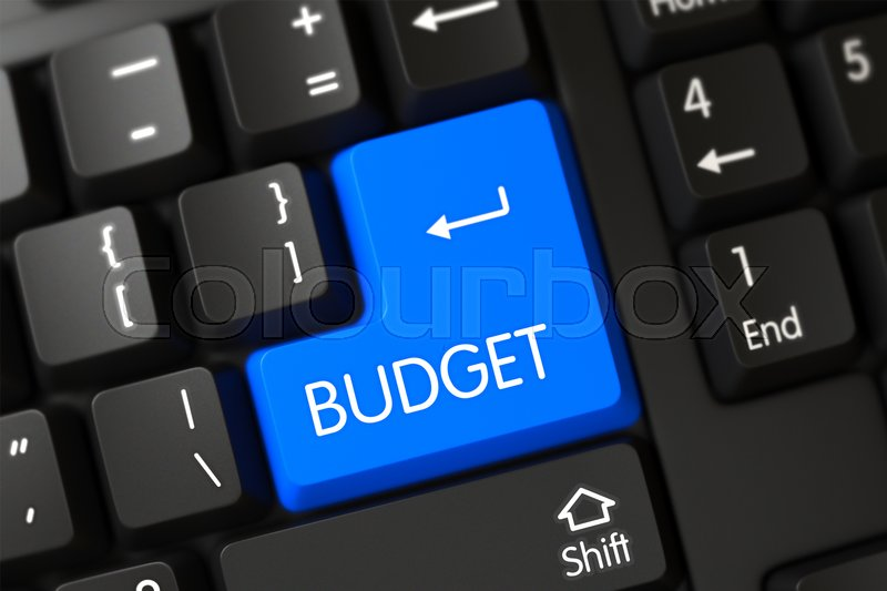 Stock image of 'Concepts of Budget on Blue Enter Button on Modernized Keyboard. 3D Render.'