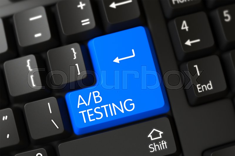 Stock image of 'AB Testing Concept: Modernized Keyboard with AB Testing, Selected Focus on Blue Enter Keypad. A-B Testing on Black Keyboard Background. Computer Keyboard with the words A B Testing on Blue Key. 3D.'