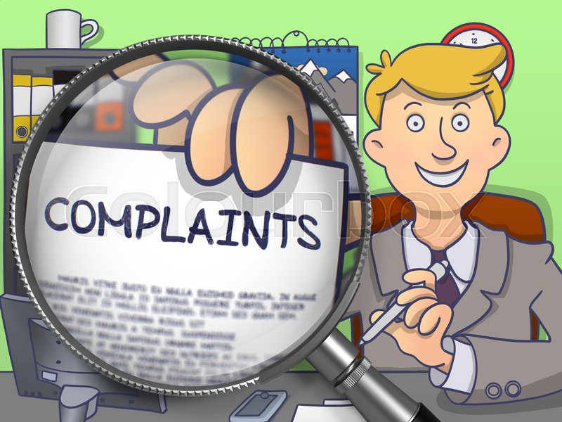 Stock image of 'Complaints through Lens. Officeman Showing a Paper with Concept. Closeup View. Multicolor Doodle Illustration.'