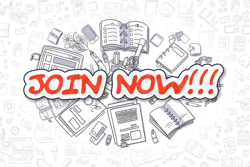 Stock image of 'Join Now - Sketch Business Illustration. Red Hand Drawn Word Join Now Surrounded by Stationery. Cartoon Design Elements. '