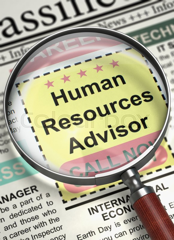 Stock image of 'Human Resources Advisor - Small Advertising in Newspaper. Human Resources Advisor - Close View of Searching Job in Newspaper with Magnifier. Job Search Concept. Selective focus. 3D Illustration.'