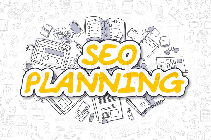 Stock image of 'SEO Planning - Sketch Business Illustration. Yellow Hand Drawn Text SEO Planning Surrounded by Stationery. Doodle Design Elements. '