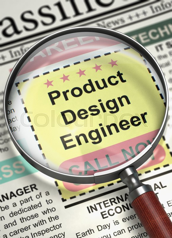 Stock image of 'Illustration of Jobs of Product Design Engineer in Newspaper with Loupe. Product Design Engineer. Newspaper with the Jobs Section Vacancy. Job Search Concept. Blurred Image. 3D.'