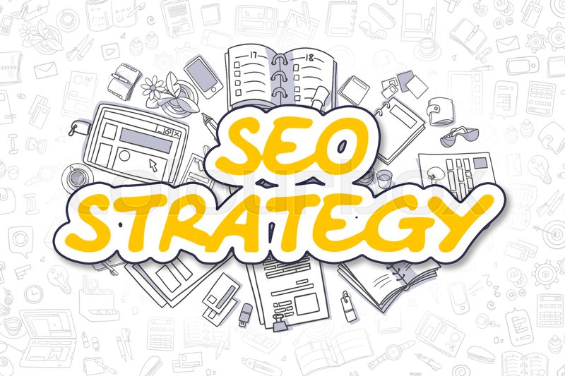 Stock image of 'SEO Strategy - Sketch Business Illustration. Yellow Hand Drawn Word SEO Strategy Surrounded by Stationery. Doodle Design Elements. '