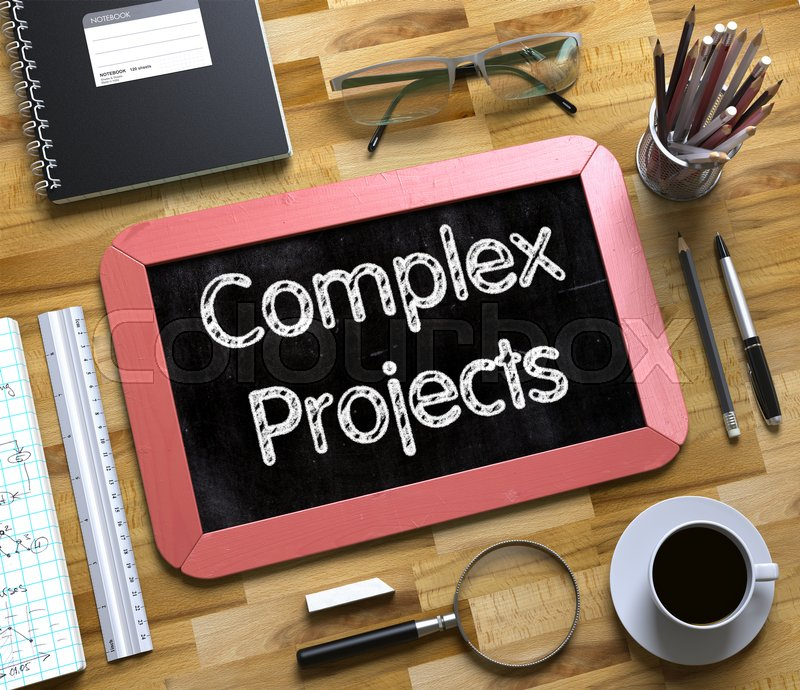 Stock image of 'Business Concept - Complex Projects Handwritten on Red Small Chalkboard. Top View Composition with Chalkboard and Office Supplies on Office Desk. Small Chalkboard with Complex Projects. 3d Rendering.'