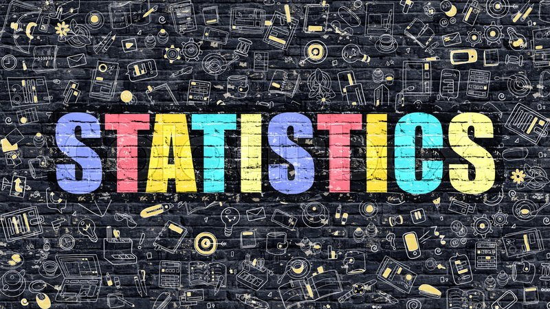 Stock image of 'Statistics Concept. Statistics Drawn on Dark Wall. Statistics in Multicolor Doodle Design. Statistics Concept. Modern Illustration in Doodle Design Style of Statistics. Statistics Business Concept.'