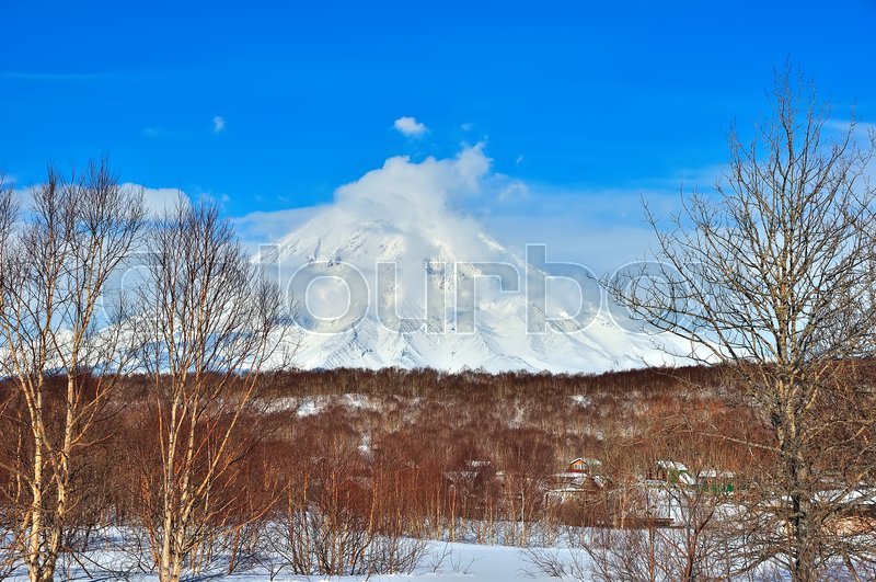 Stock image of 'Volcanic landscape of Kamchatka: winter view of Volcano.'