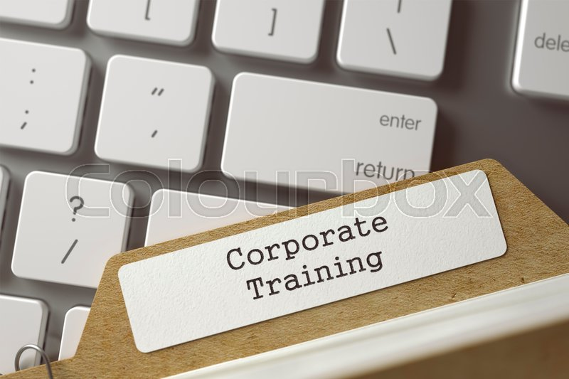 Stock image of 'Corporate Training written on  Folder Register on Background of Modern Laptop Keyboard. Business Concept. Closeup View. Selective Focus. Toned Illustration. 3D Rendering.'
