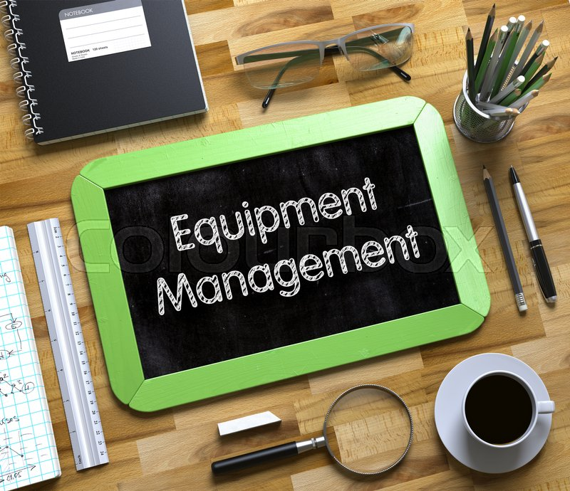 Stock image of 'Equipment Management on Small Chalkboard. Equipment Management Handwritten on Small Chalkboard. 3d Rendering.'