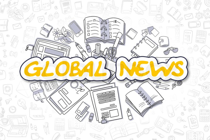 Stock image of 'Global News Doodle Illustration of Yellow Word and Stationery Surrounded by Doodle Icons. Business Concept for Web Banners and Printed Materials. '